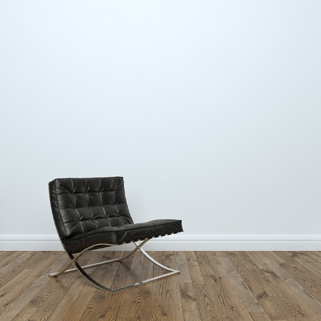 arm chair: Black Leather Armchair In Empty Interior Room Stock Photo: