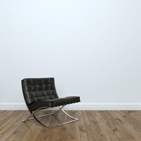 Negro sillón de cuero en sitio vacío interior Foto de archivo: Foto de archivo - 35889719