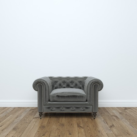 Black velvet Armchair In Empty Interior Room Stock Photo: Stock Photo