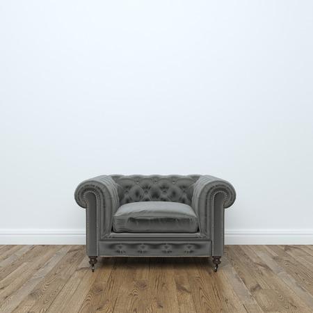 trono: Negro sillón de terciopelo En Empty Room Interior Foto de archivo: