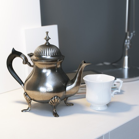 coffee pot: Vintage Metal Coffee Pot With Cup And Lamp On The Coffee Table
