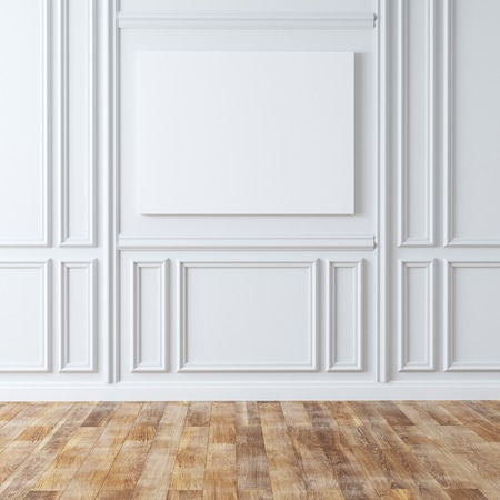 gypsum: Empty Classic Room With Laminate Flooring