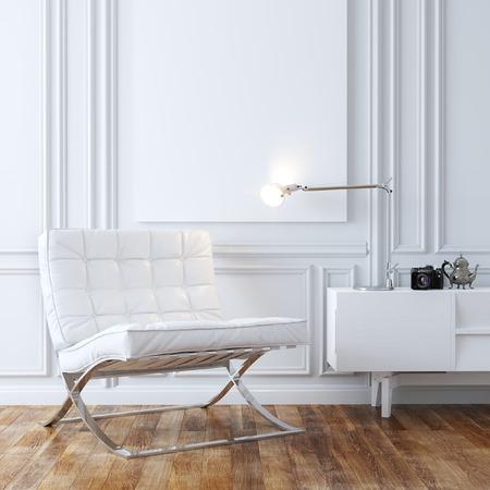 Elegante sillón de cuero blanco en el clásico diseño de interiores Foto de archivo - 35889828