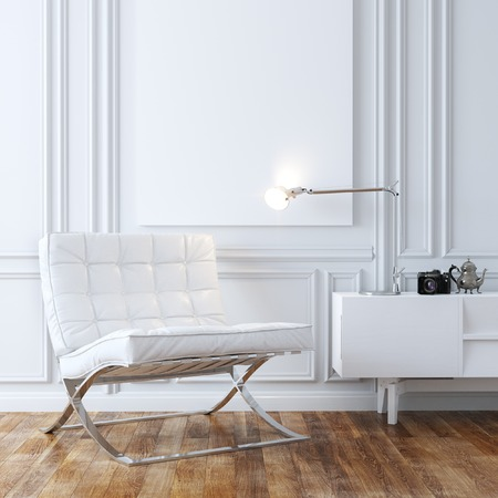 Stylish White Leather Armchair In Classic Interior Design Stock Photo