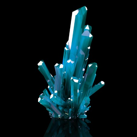 precious stone: 3d Illustration Of Grown Blue Shining Crystals