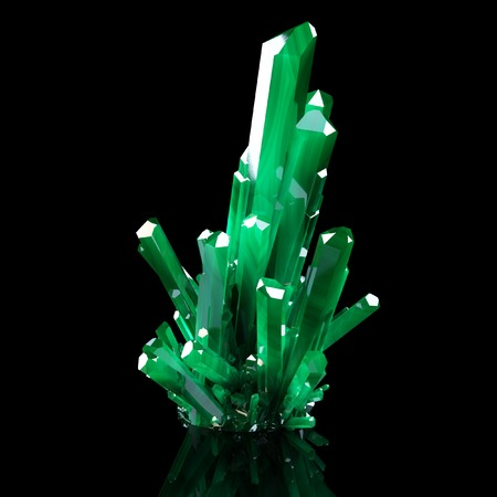 insoluble: 3d Illustration Of Grown Green Shining Crystals Stock Photo