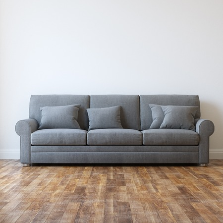 Grey Textile Classic Sofa In Minimalist Interior Room Stock Photo