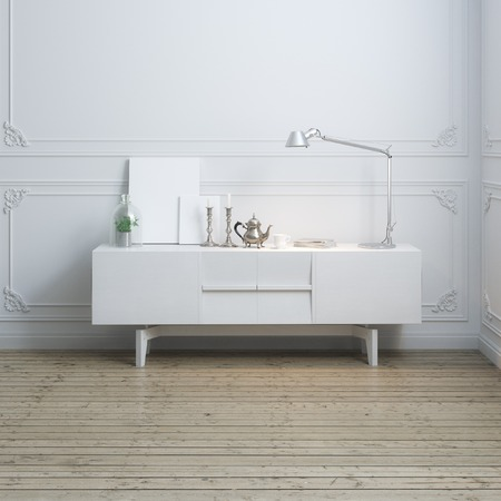 Classic empty room interior with vintage objects