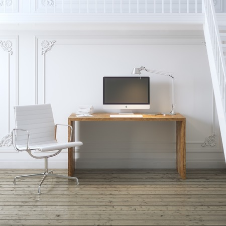 idea comfortable: Working place interior design with stairs and white armchair Stock Photo