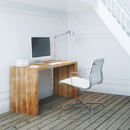 Working place interior design with stairs and white armchair 免版税图像