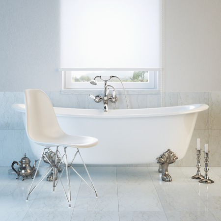 Vintage bathtub in modern interior with window and white chai photo
