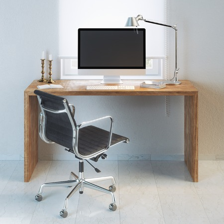 arm chair: Working place with interior wooden table and modern armchair Stock Photo