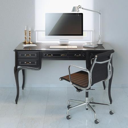 working at home: Inicio puesto de trabajo en el dise�o cl�sico de la pared interior blanco