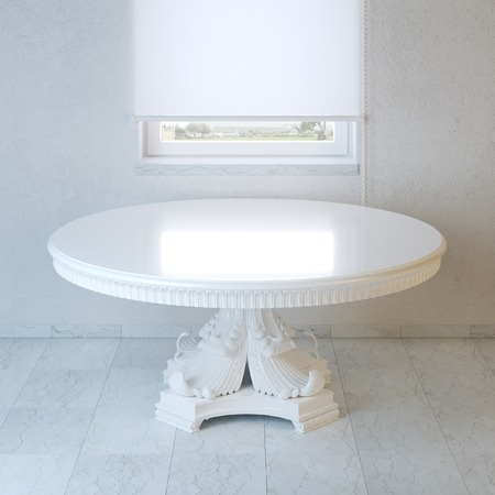 baroque room: Minimalist room with white baroque style table and window Stock Photo