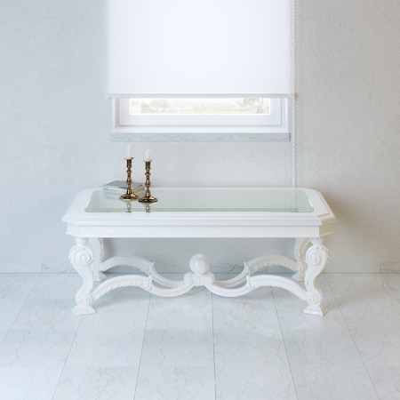 baroque room: White empty room with baroque style coffee table and candelabra Stock Photo