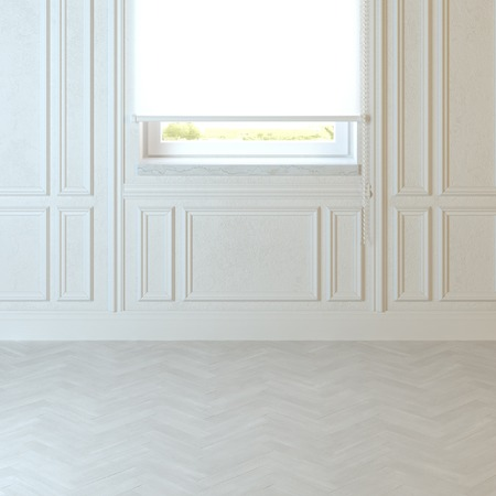 floors: Empty living room design with classic white wall and window