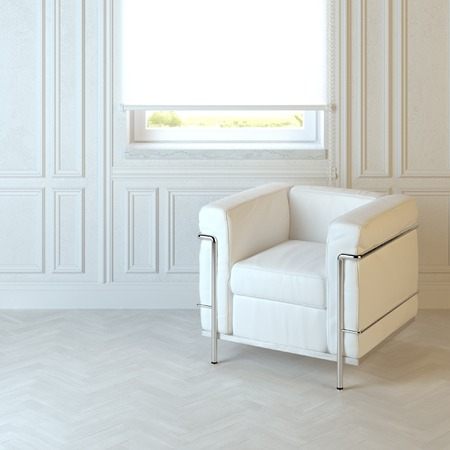 emty: White modern armchair in emty interior with parquet