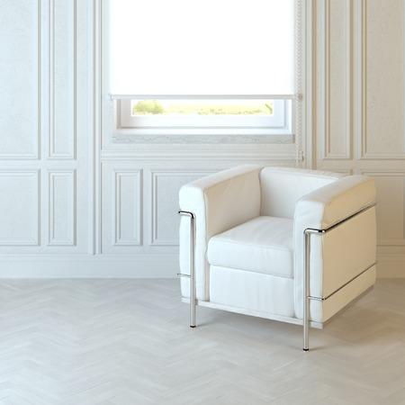 emty: White modern armchair in emty interior with parquet