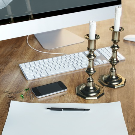 brass lamps: Retro candelabra, computer and phone in office Stock Photo