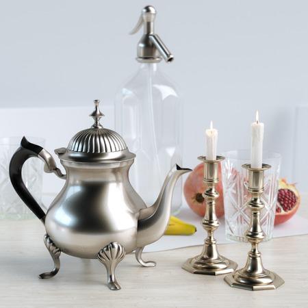 candelabra: Retro Candelabra, Vintage Coffee Pot And Fruits In The Kitchen Stockfoto