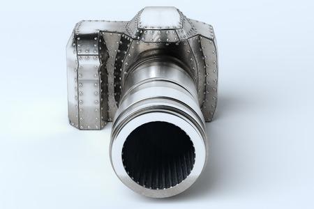 Conceptual Metal (Platinum) Photo Camera On White Background photo