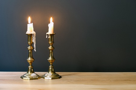 candles: Retro Candelabra With Burning Candles In Minimalist Room