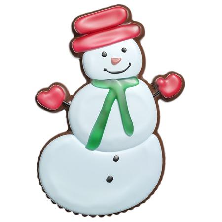 galleta de jengibre: Mu�eco de nieve hecho de galletas de jengibre con glaseado (recuerdo de la Navidad) Foto de archivo