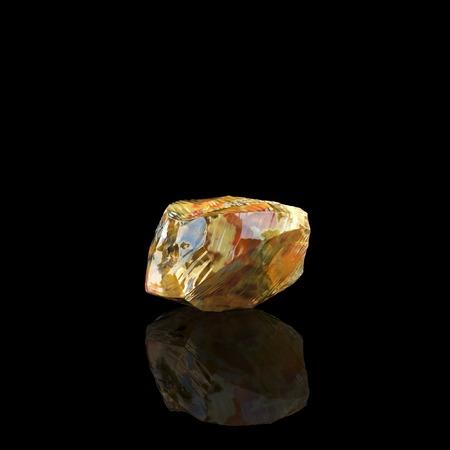 waxy: Shiny Amber Stone On Black Background Second Version Stock Photo