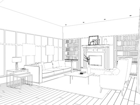 Sketch of the living room with sofa, frames and coffee table Stock Photo