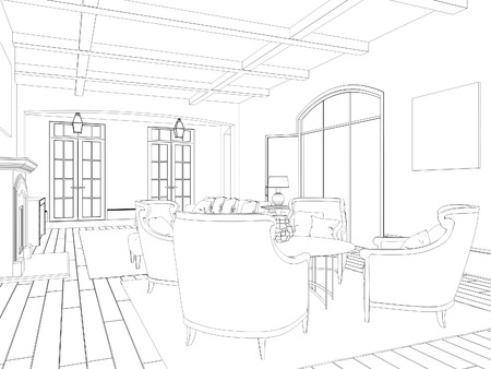 Sketch of living room with dining area: classic chairs and table