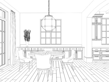 drafting: Sketch of living room with dining area: classic chairs and table