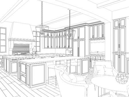 perspectiva lineal: 3d boceto del interior de la cocina con comedor