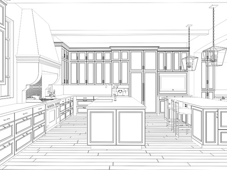architectural plan: 3d sketch of kitchen interior with dining area