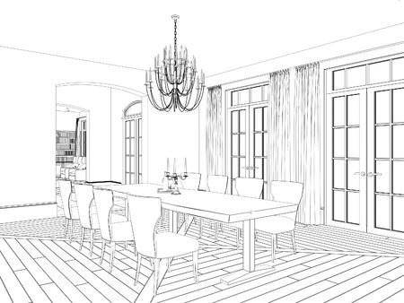 perspectiva lineal: Bosquejo de comedor clásico con muebles de época