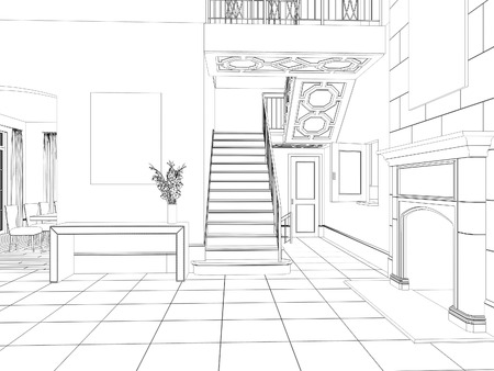 divan: Sketch of room interior design with fireplace and stairs