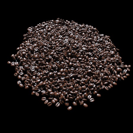 coffeetree: Roasted coffee beans on black background for advertising