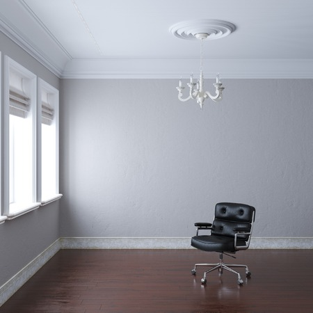 uncarpeted: New empty white interior with leather armchair and chandelier