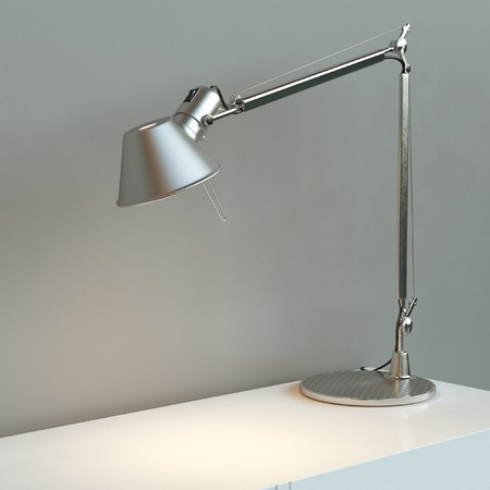 Wall Desk Lamp: desk lamp: Metal desk lamp stand on white surface behind grey wall,Lighting