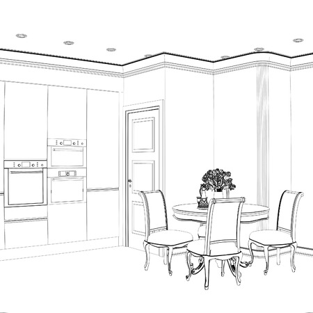 drawing room: 3d sketch of kitchen interior with dining area
