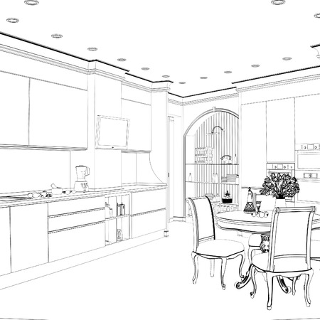 dining area: 3d sketch of kitchen interior with dining area