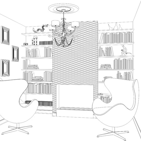 armchairs: Sketch of interior design with armchairs books and chandelier