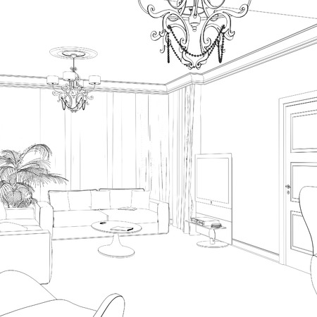 coffee table: Sketch of the living room with sofa frames and coffee table