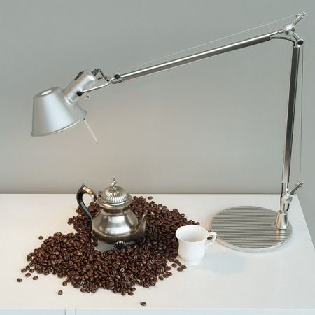 jamoke: Vintage pot with cup and roasted cooffee beans under the lamp