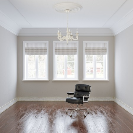 uncarpeted: :Big empty white interior with leather armchair and chandelier Stock Photo