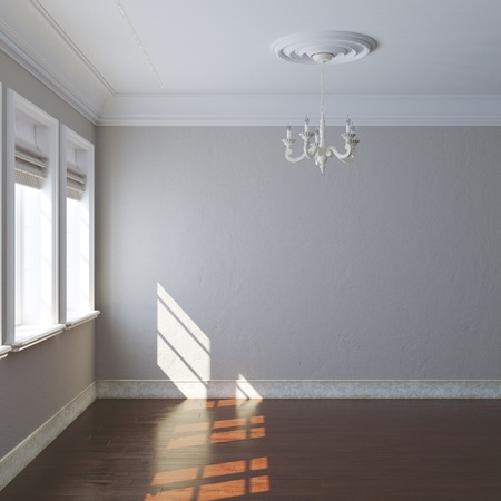 uncarpeted: New big empty interior design with retro chandelier and windows Stock Photo