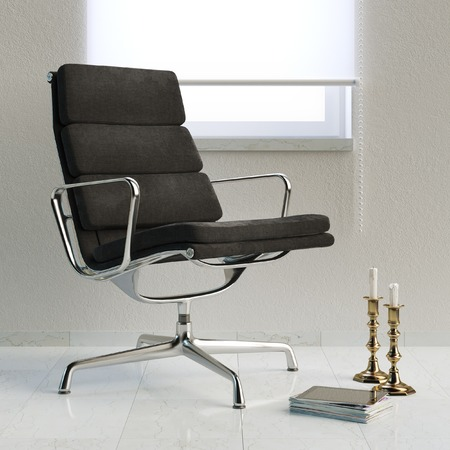 :Modern white room with office armchair and window photo
