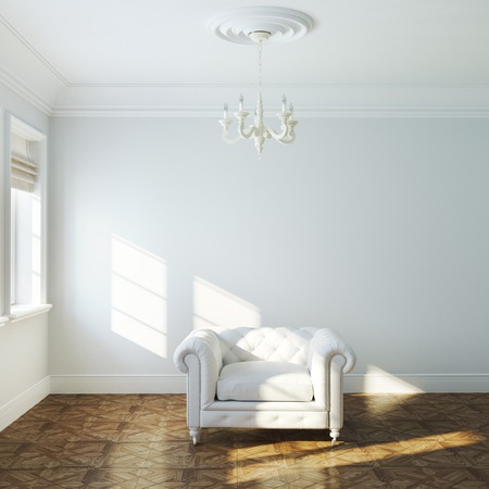 uncarpeted: Vintage white armchair in empty interior design with chandelier