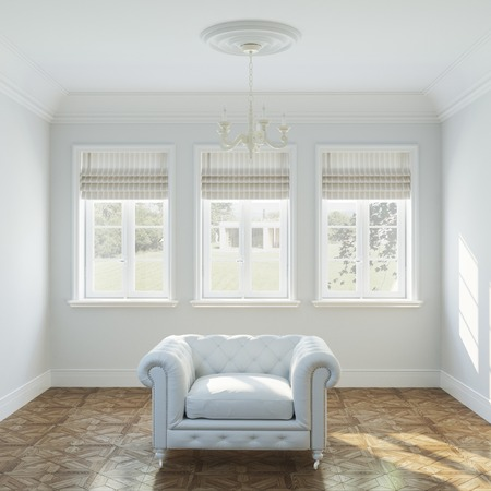 uncarpeted: :Vintage white armchair in empty interior design with big windows