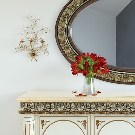 espejo: Tocador de la vendimia con las rosas en el espejo y en marco tallado