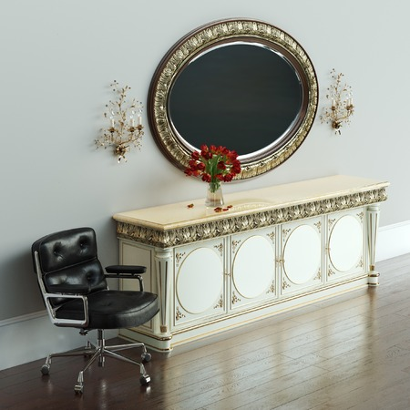 jaunty: Vintage dressing table with roses on and mirror in carved frame